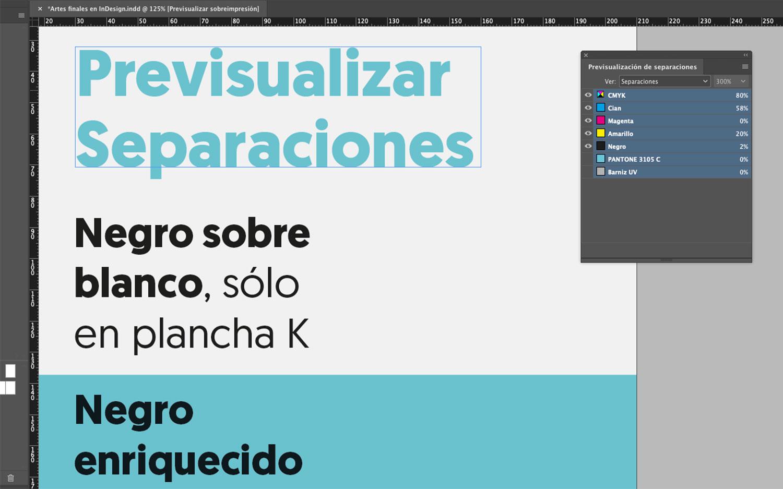 Artes finales en Adobe InDesign. Previsualizar separaciones