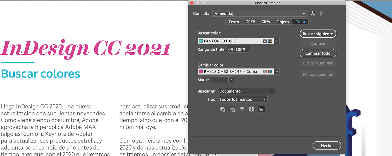 InDesign CC 2021 Buscar colores