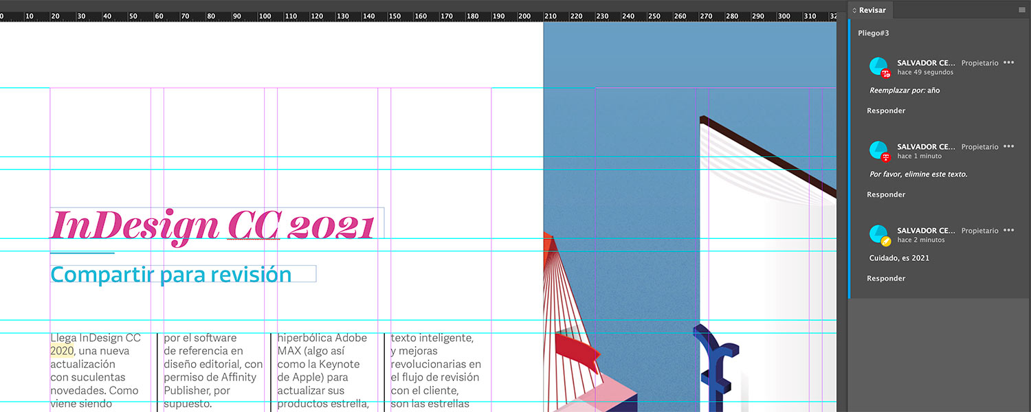 Revisamos los cambios en InDesign.