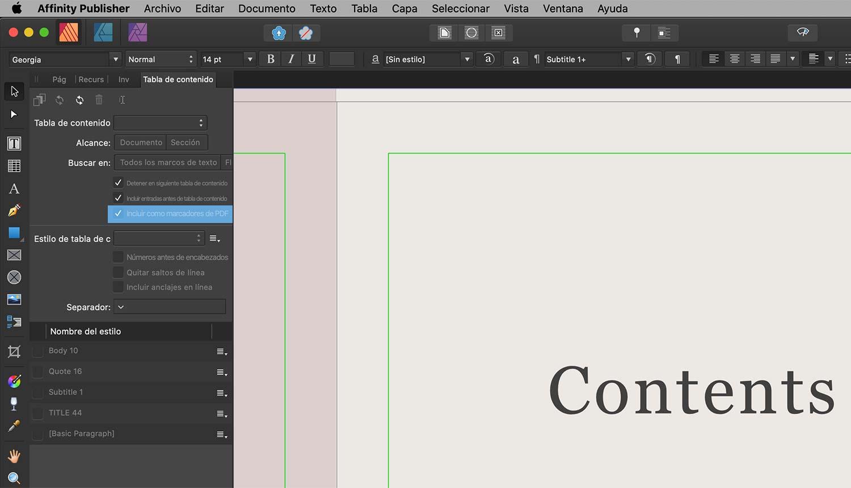 Marcadores PDF en Affinity Publisher