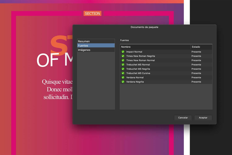 Empaquetar imágenes y fuentes tipográficas en Affinity Publisher